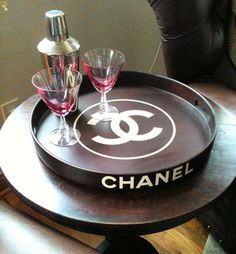 LOVE!!! put a wall decal for $24 dollars on a food serving platter.  Chanel | Wall Decals - Trading Phrases