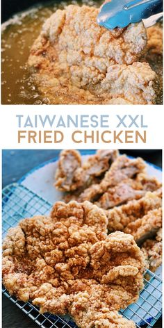 You NEED to give this recipe a try! Your house will be smelling AMAZING, and I promise all your guests will LOVE this Taiwanese XXL Fried Chicken. Asian Noodle Recipes, Healthy Asian Recipes, Asian Chicken Recipes, Easy Chinese Recipes, Vegetarian Recipes, Chinese Cooking Wine, Chinese Food, Fried Chicken, Food Videos