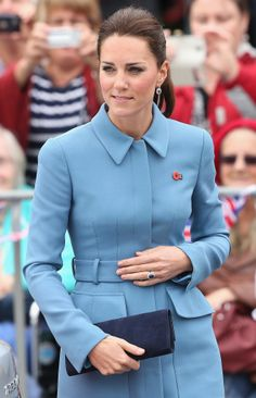 10 April 2014 - The Duchess wore a pair of diamond and sapphire earrings which match her engagement ring