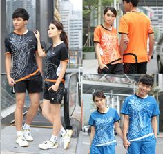 Free shipping Victory badminton clothing for male and female tennis clothes suit Shirt +shorts US $52.99