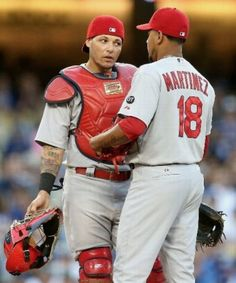 "Martinez: ""so, I bought a pepperoni pizza-"" Yadi: ""No, no, no, man. I wanted cheese with black olives"" St Louis Baseball, St Louis Cardinals Baseball, Stl Cardinals, Baseball Pictures, Baseball Stuff, Carlos Martinez, Cardinals Players, Mlb, Yadier Molina"