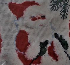 "Charming Vintage Retro style painted needlepoint stocking kit. Featuring old st. Nick Skiing this is to be jeweled with sequins and is a miniature 9"" Stocking! This is the time to start on a new needlepoint stocking! This has the retro looking charm and looks to be 1970s though not sure! I have another one if you would like two let me know!"