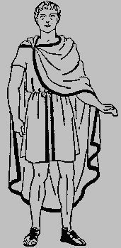 Ancient Roman Clothing. Knight - White toga and tunic, purple bands and sandals