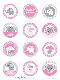 Rosa gris chica elefante bebé ducha Cupcake por adlyowlinvitations