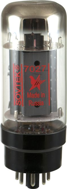Sovtek 7027 beam pentode power tube. Made in Russia.  Replacement for all original 7027's. www.amplifiedparts.com