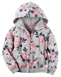 Toddler Girl French Terry Floral Zip-Up Hoodie   Carters.com