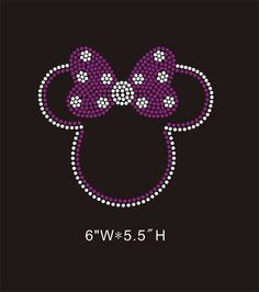 Minnie rhinestone hot fix  iron on rhinestone transfer - Minnie Mouse with purple bow DIY appliqué Disney  for kids and mom  shirts tees on Etsy, $6.25