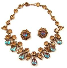 Made in Austria Saphiret Cabochons Topaz Crystals Necklace Clip Earrings Set | eBay