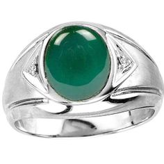 Men's Oval Green Onyx Ring in Sterling Silver