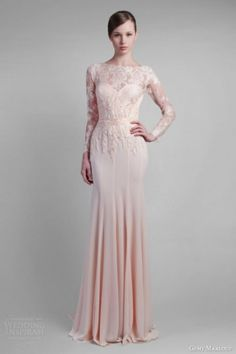 This dress is stunning!! Loving the blush pink. long lace sleeve blush wedding gown