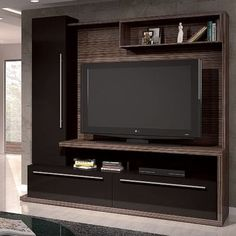 mueble de tv - Google Search Modern Tv Cabinet, Modern Tv Wall Units, Modern Kitchen Cabinets, Living Room Tv Unit Designs, Living Room Wall Units, Tv Wall Design, House Design, Young Mans Bedroom, Lcd Units