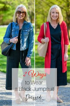 2 Ways to Wear a Black Jumpsuit - how to style a jumpsuit - how to wear a romper - styling a romper - jumpsuits for women over 50 Jumpsuit Dress, Black Jumpsuit, Romper, Bold Fashion, Fashion Over 50, Fashion Advice, Fashion Outfits, Clothes For Women Over 50, Red Cardigan
