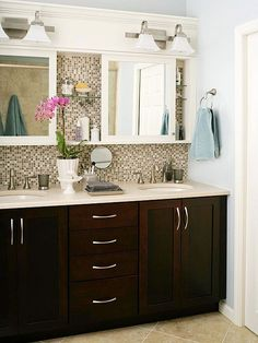 Traditional Master Bathroom with European Cabinets, Undermount Sink, Ceramic Tile, Flat panel cabinets, Double sink, Flush