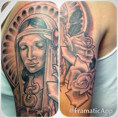 Can't wait to finish #WIP #virginmarytattoo #religioustattoo #rosetattoo #blackandgreytattoo #bostontattooartist #chrisreilly #tattoo #bostontattoo www.empiretattooinc.com