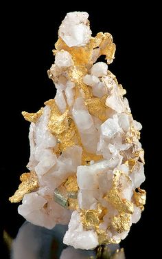 Gold with Pyrite crystals on Quartz