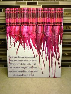melted crayons with a quote