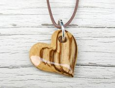 Wood Heart Necklace  African Zebrawood  Women's by TheLotusShop, $16.95