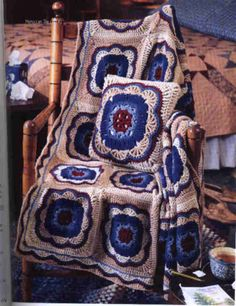 Moroccan Tile Afghan and Pillow - Brighten the day for a friend who's feeling under the weather with this beautiful afghan and matching pillow.
