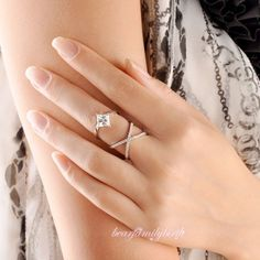 New Interlaced Big Square Zircon Midi-Finger Ring Size 7 White Copper Alloy R994 #Bearfamilybirth #Cocktail