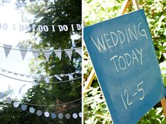 Love the 'I Do' banners hanging from trees at this ceremony!