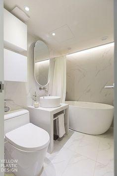 Ideas Bathroom Marble Decor Powder Rooms For 2019 Bathroom Colors, Small Bathroom, Bathroom Marble, Korean Apartment, Man Cave Home Bar, Vintage Bathrooms, Bathroom Interior Design, Bathroom Renovations, Bathtub