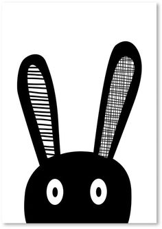 Cute print for a childs' monochrome bedroom / Americanflat Bunny Selfie Print Art #am