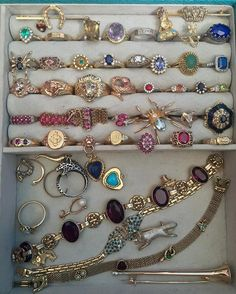 Update: the spider with an aquamarine stone is Sold. The lion with the ruby eyes on the third row from the left is Reserved. These #jewelery pieces need either a new jewelry storage box or the new homes. I prefer the new homes :). #antiquejewelry #antiqueshop #antiquejewellery #antiquejewelryaddiction #antiqueshop #vintageshop #vintageshopping #vintageshops #peridot #peridotring #sapphirering #coraljewelry #signetring #orangesapphire #bluesapphire #gold #lovegold #bow #doubleheart #st..