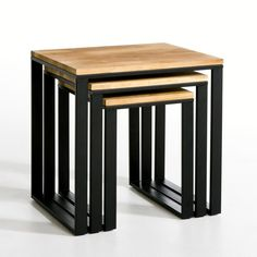 Set of 3 HIBA Solid Oak & Steel Nested Side Tables LA REDOUTE INTERIEURS .Three nested side tables in solid joined and oiled oak. Inspired by industrial furniture of yesteryear. Welded Furniture, Iron Furniture, Steel Furniture, Furniture Sale, Home Decor Furniture, Industrial Furniture, Table Furniture, Furniture Buyers, Furniture Design