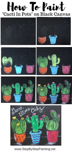 How To Paint Cacti In Pots Black Canvas Step By Step Painting - Cacti Acrylic Painting Tutorial This Is An Adorable Painting Of Three Different Cacti In Decorative Pots Paint This For Yourself Or The Cactus Lover In Your Life You May Also Wish To Customiz Canvas Painting Tutorials, Easy Canvas Painting, Diy Painting, Beginner Painting, Painting Abstract, Cactus Drawing, Cactus Painting, Canvas Crafts, Diy Canvas