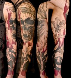 skull and lily flowers full sleeve tattoo for men - Lily is the symbol of compassion in Buddhism. Skull represents vessel of the soul, or wisdom, a tattoo with deep meaning.