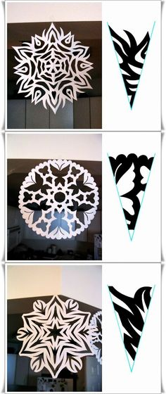 Read about Origami Paper Folding Paper Snowflake Patterns, Snowflake Template, Paper Snowflakes, Christmas Snowflakes, Christmas Art, Christmas Decorations, Diy And Crafts, Crafts For Kids, Arts And Crafts