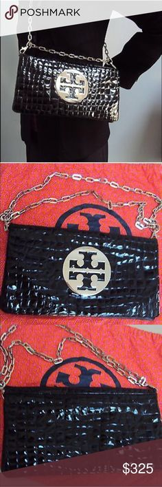 Tory Burch Reva crocodile embossed leather 😍 Tory Burch crocodile embossed patent leather, perfect condition. Can be worn over the shoulder, or as a Crossbody. Gorgeous! of course it's 100% authentic. As is everything in my closet. 😍 Tory Burch Bags