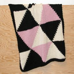Knitted Triangle Throw or Baby Blanket in by YarningMade on Etsy