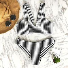 995a51e49e Stripe Triangle Swimsuit Bathing Suit Brazilian Bikini Striped Bikini