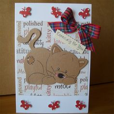 lovely handmade card from Aunty Joan crafts on folksy Cat Cards, Greeting Cards, Paper Crafts, Diy Crafts, Animal Cards, Creative Cards, Homemade Cards, Paper Goods, Your Cards