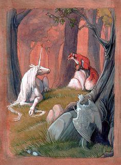 Magical Creatures, Fantasy Creatures, Art Magique, The Last Unicorn, Unicorn Art, Fairytale Art, Realistic Paintings, Fox Art, Mythological Creatures