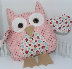 Owl Pillow Made using Stampin' Up fabrics