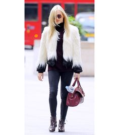 On Cotton: Unreal Fur Two Tone Short Fur Jacket ($329) in Cream and Black