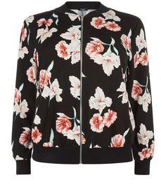Curves Black Floral Print Bomber Jacket | New Look