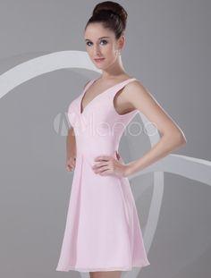 Pink Cascading Ruffle V-Neck Chiffon Short Fashion Cocktail Dress - Milanoo.com