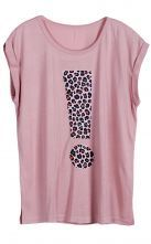 Pink Short Sleeve Leopard Exclamation Mark Print T-Shirt $26.29  #SheInside