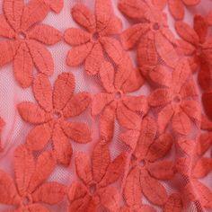 Pushing Daisies Embroidered Mesh - Flamingo | Gorgeous FabricsGorgeous Fabrics