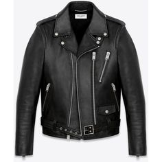 Saint Laurent Signature Motorcycle Jacket (103,570 MXN) ❤ liked on Polyvore featuring men's fashion, men's clothing, men's outerwear, men's jackets, men, jackets, outerwear, coats, menswear and mens real leather jackets