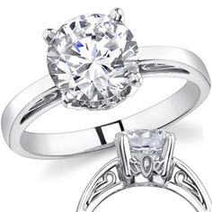 FAVORITE! Available in rose gold! With a 1.25 ct round brilliant center stone, $669. With a 1.0 ct. center, $509. Either way it's beautiful.
