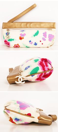Chanel Floral Zipper Pouch! Love this little bag.