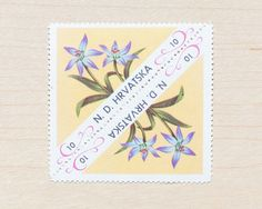 6 (12 Triangle) Botanical Flower Postage Stamps Croatia – Wildflower Flora Illustrations Save the Date Wedding Letters Philately