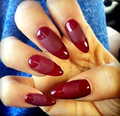 Dark red Almond shape nails