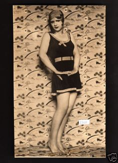 Pretty Girl in Swimsuit Flapper Fashions Beautiful Body Cute Model Underwood | eBay -- A vintage photo of a pretty girl modeling a swimsuit c. late 1920s, early 1930s.  She has dark eyes, a fashionable hairstyle under a hat, and a great figure.    The photo is by Underwood & Underwood.