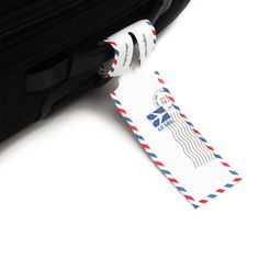 """Cute """"air mail"""" style luggage labels."""