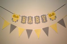 Cheveron Baby Shower Decorations, Ready to ship, Owl decorations, BABY banner, photo prop, photography prop, pennant banner via Etsy